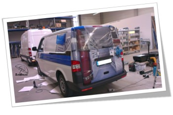 Sunbreak Car Wrapping - Praxisbeispiel Werbung auf VW Transporter Gallery-2